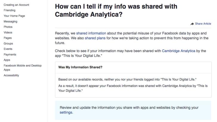 A keretes részben közli a Facebook, hogy visszaéltek-e adatainkkal