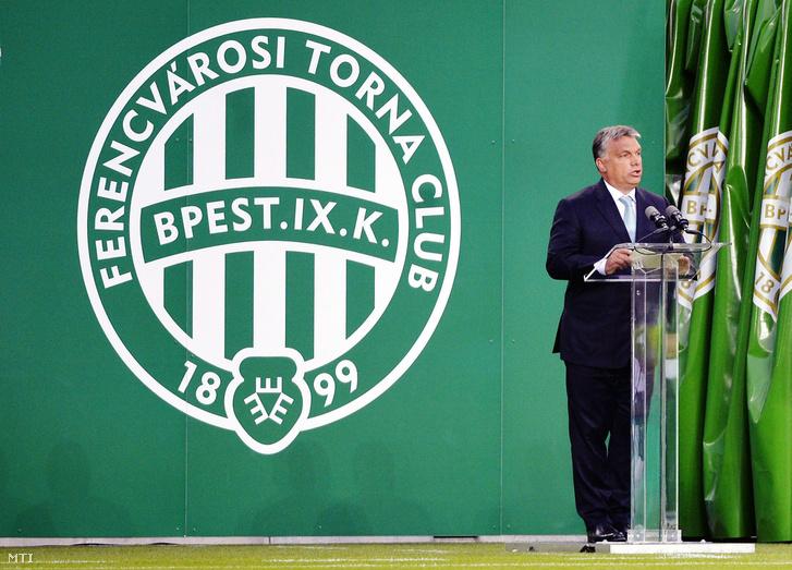 Orbán Viktor miniszterelnök mond ünnepi beszédet a Ferencvárosi Torna Club (FTC) új stadionja a Groupama Aréna megnyitóján Budapesten 2014. augusztus 10-én.