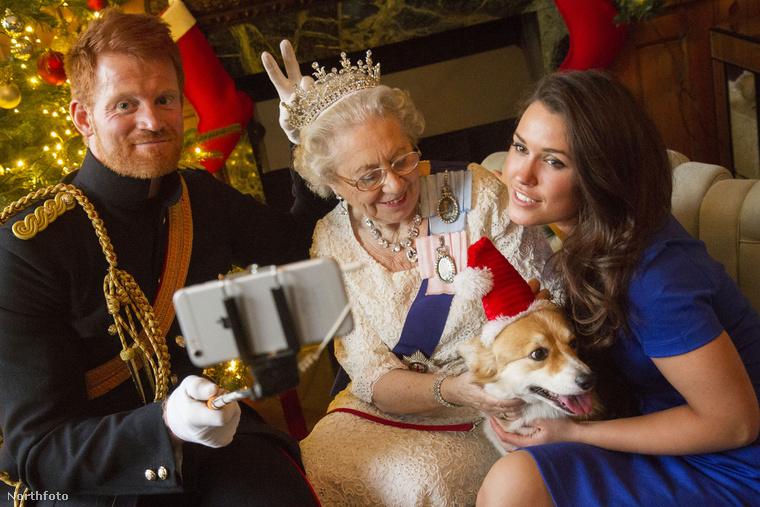 Nos, ezzel a képpel búcsúzunk, amin minden van, a szelfibottól kezdve, a jegyespáron keresztül, a királynőn át, a corgiig.viszlát!