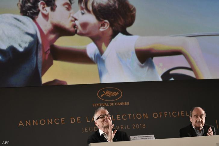 Thierry Fremaux és Pierre Lescure a cannes-i filmfesztivál sajtótájékoztatóján