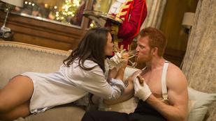 A félmeztelen Harry herceg sütivel eteti a melltartós Meghan Markle-t