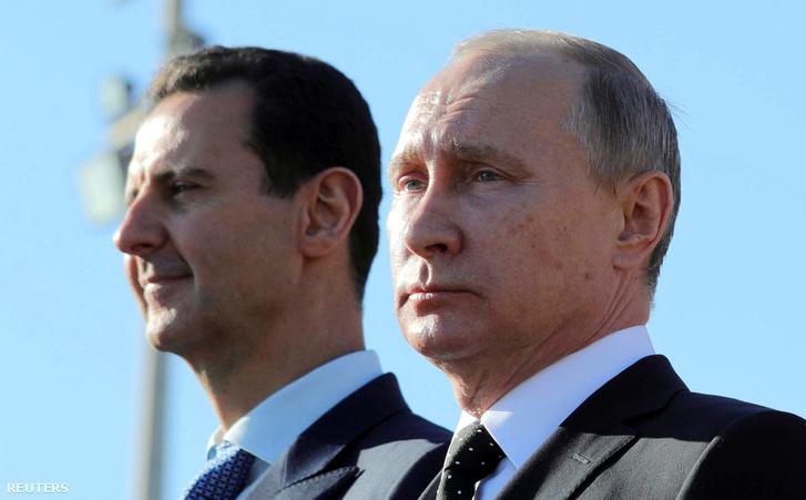 Aszad és Putyin a szíriai orosz légibázison, Latakiában, 2017. decemberében.
