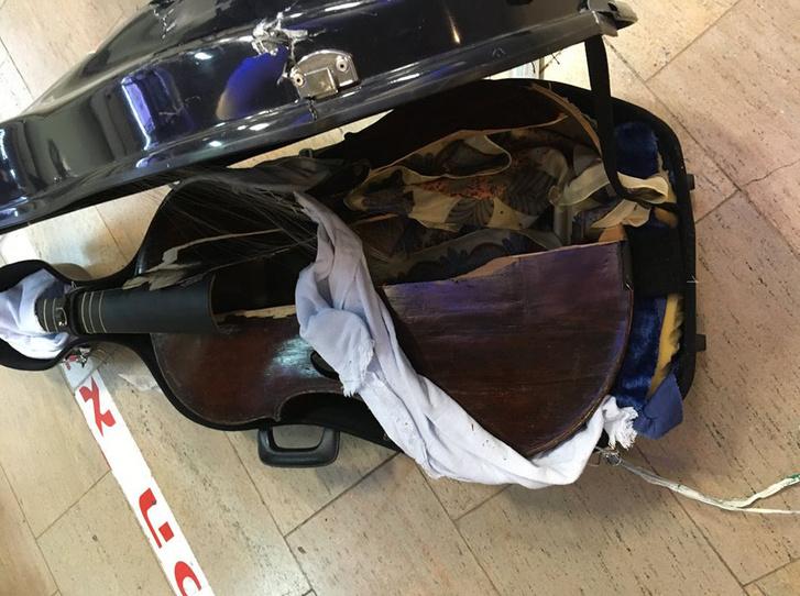 Myrna Herzog viola da gambája széttört a repülőút során