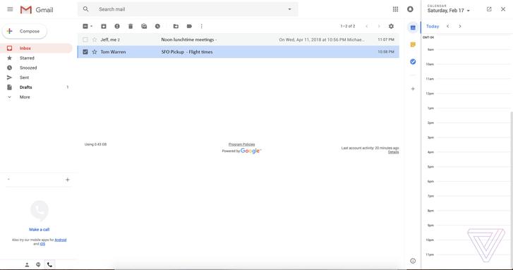 Így nézhet ki a megújult Gmail a felületbe integrált naptárral