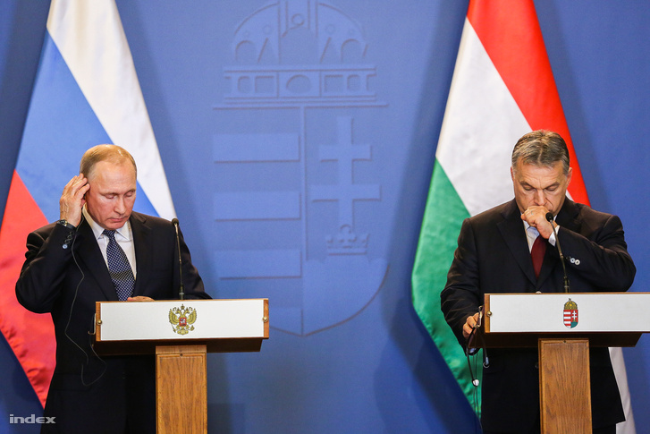 Vlagyimir Putyin és Orbán Viktor Budapesten 2017-ben