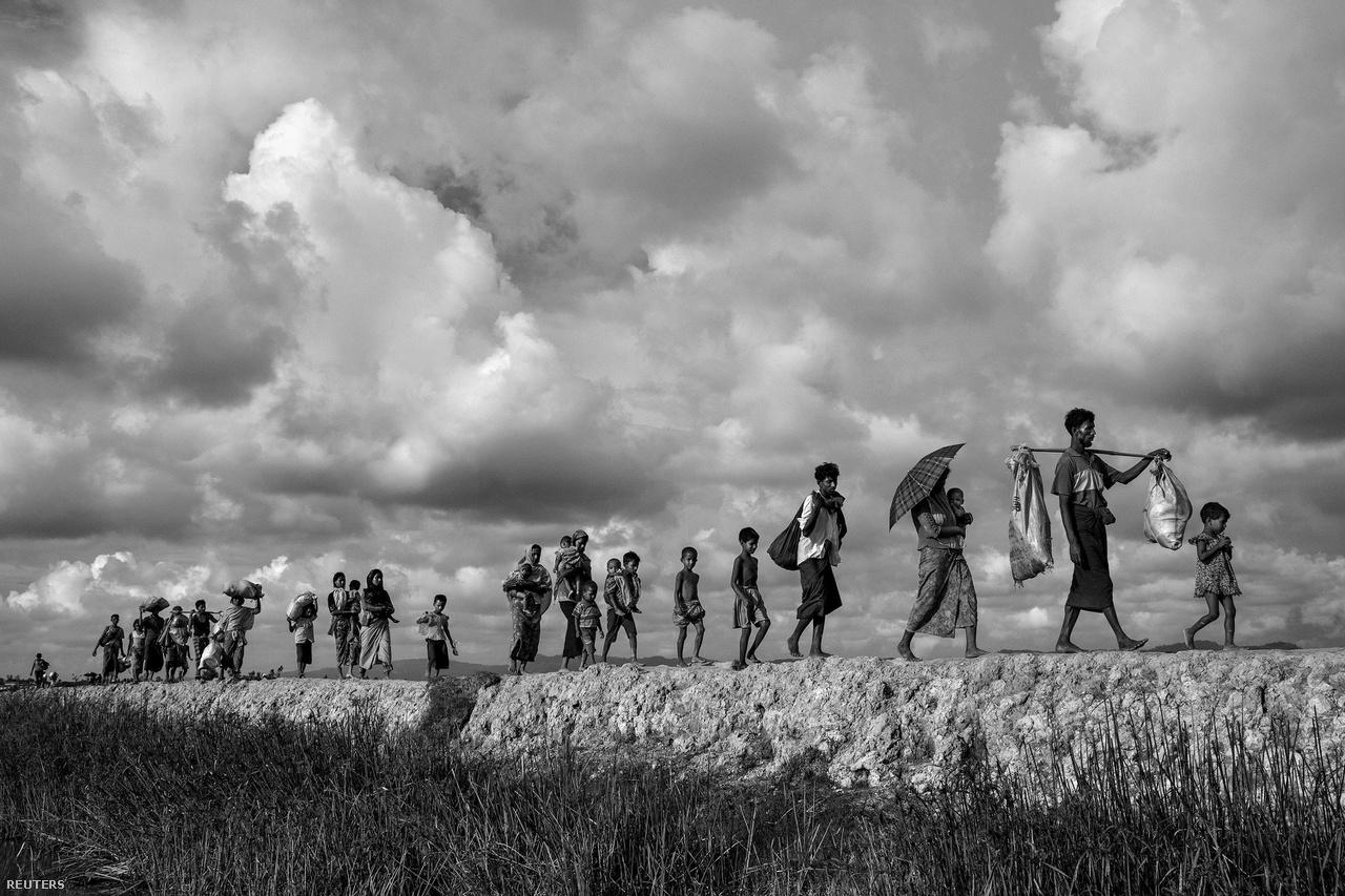Az általános hír kategória második helyén Kevin Frayer képe végzett. Rohingja menekültek haladnak hosszú sorokban Mianmarból.