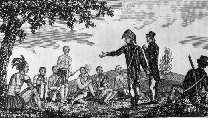 Meriwether Lewis (1774 - 1809) és William Clark (1770 - 1838) bennszülöttekkel társalog a Mississippi folyó partján