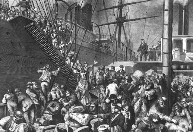 Német bevándorlók indulnak Amerikába a 19. század végén.