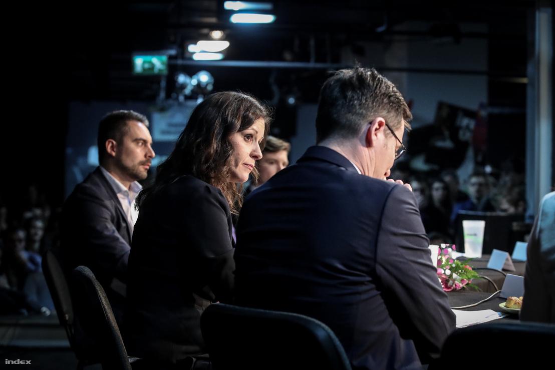 Vona Gábor, Szél Bernadett és Karácsony Gergely a Független Diákparlament által szervezett ellenzéki miniszterelnök-jelölti vitám 2018 március 12-én