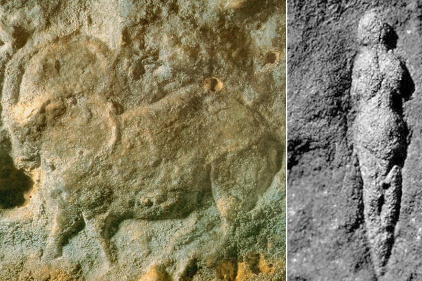 Rénszarvas-faragvány és a Pataud-shelteri Vénusz.