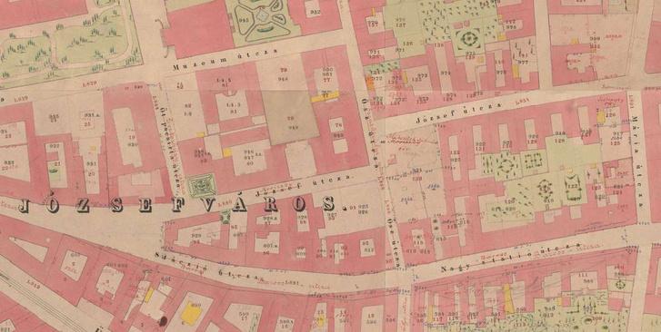 A mai Mikszáth és Lőrinc pap tér környéke az 1860-1870-es években
