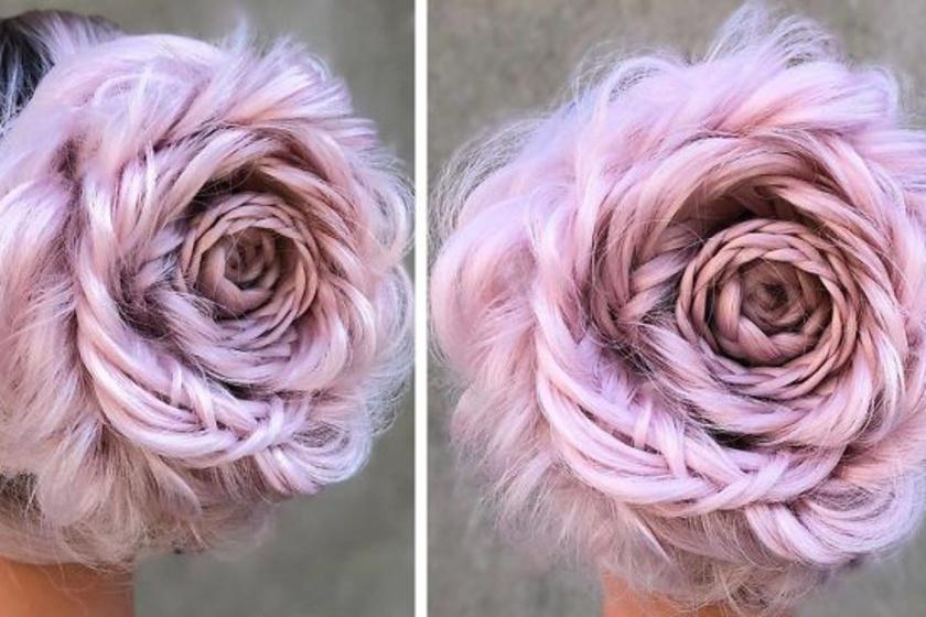 Új hajdivat hódít: a rózsaszín rózsa fonat!