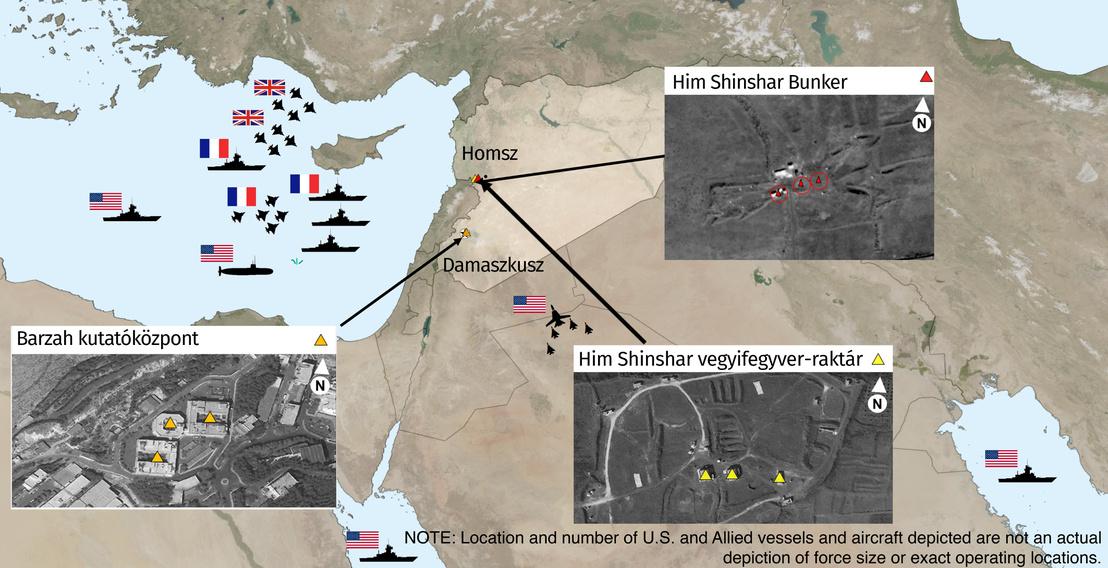 Az Amerikai Védelmi Minisztérium térképe a támadásokról és az abban résztvevő erőkről