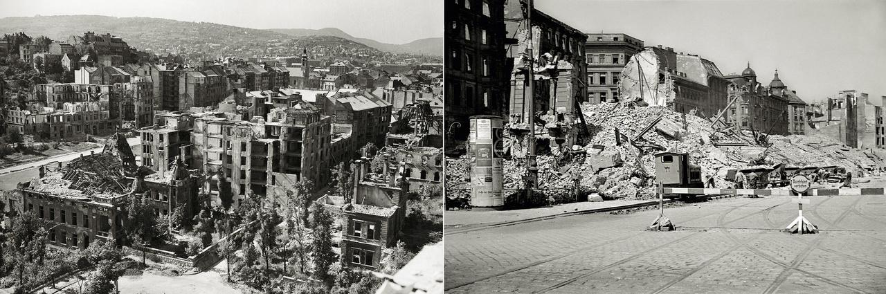 A városépítészet hosszú évszázadokon át az erődítések története is. A 18-19. század hadviselése kiköltözött a városfalon túlra, azonban a második világháború alatt a városok ismét erődök lettek. A főváros épületállományának hetvenöt százaléka sérült meg Budapest-erőd bevétele során. A baloldali, 1946-os fotón a  budai vár alatti Attila út házsora a Királyi Testőrség épületének romjaival. Bécsben a Gürtel, a Ring és a Duna-csatorna voltak a frontvonalak (utóbbi a jobb oldali képen, 1946-ban). A bécsi negyven százalékos  épületállomány-pusztulás nemzetközi viszonylatban mérsékeltnek mondható.