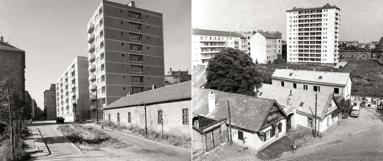 Bár a Duna mentén nem épültek toronyház-erdők, az erről szóló urbanisztikai viták végigkísérték a századot. A régi városrészek, falusias külső kerületek helyén felhúzott magasházak a nagy lakásszámbővülés ígéretével csábítottak. A Pest északi iparnegyedében fekvő Kárpát utcában és a szőlőműves faluból iparnegyeddé alakult Ottakringen a hatvanas években egymás mellett él még az eltüntetendő és a jövőnek kikiáltott.