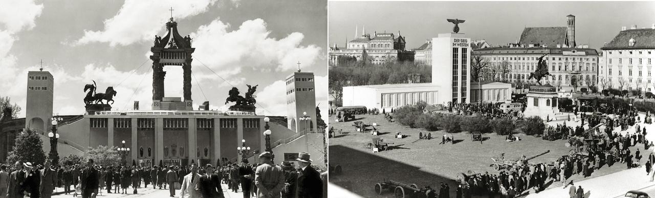 Európa a rövid 20. században legalább annyi energiát fektetett épített környezetének pusztításába, mint amennyit jövője megtervezésébe. A metropoliszok tereit sem hagyták érintetlenül a hatalmi játszmák. 1938-ban a budapesti Hősök terén, a 34. Eukarisztikus Világkongresszusra épített ideiglenes installáció is a rendezvény hivatalos üzenetét közvetítette: Magyarország Közép-Európa utolsó békés szigete. A nácizmust elutasító konzervatív Európa találkozóján Hitler megtiltotta a német részvételt. Az Anschluss után Bécs Németország részeként 1940-ben már a győztes nyugati hadjáratot ünnepelte a Heldenplatzon.