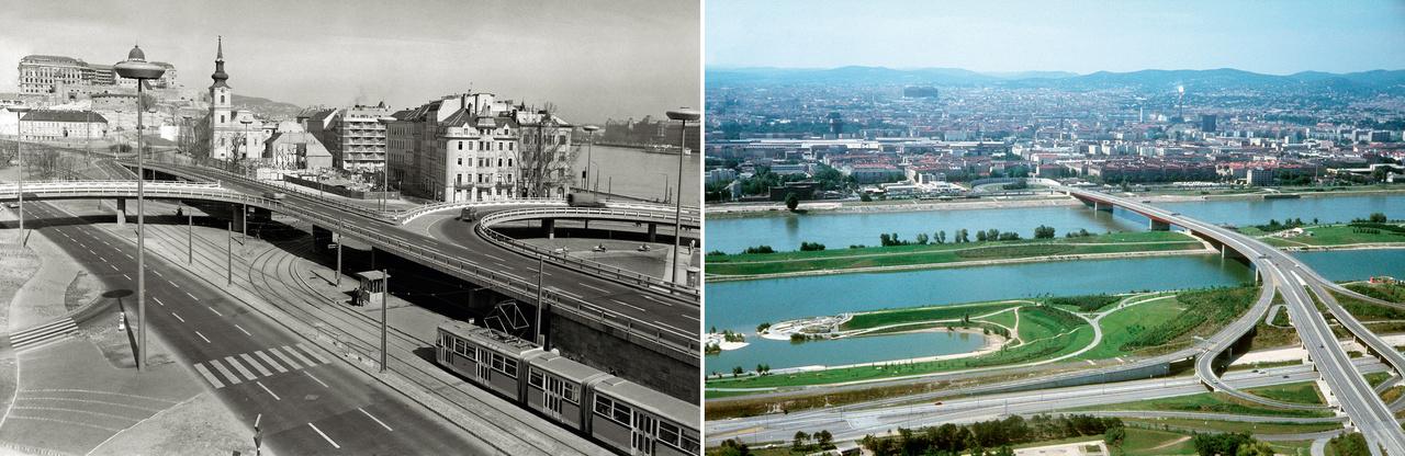 A modern városépítészet fanatikus rajongással tekintett a mozgásra mint a város legfőbb funkciójára. A szintbeli kereszteződések kiváltását, a fel- és levezető kanyarulatok rendszerét eredetileg az autópályákra dolgozták ki, de idővel a városban is alkalmazni kezdték. A második világháborús pusztulásból a hatvanas években újjáépített Erzsébet híd a városon áthaladó autópályák összekötésére szolgált, ahogy a bécsi Brigittenauer híd is.