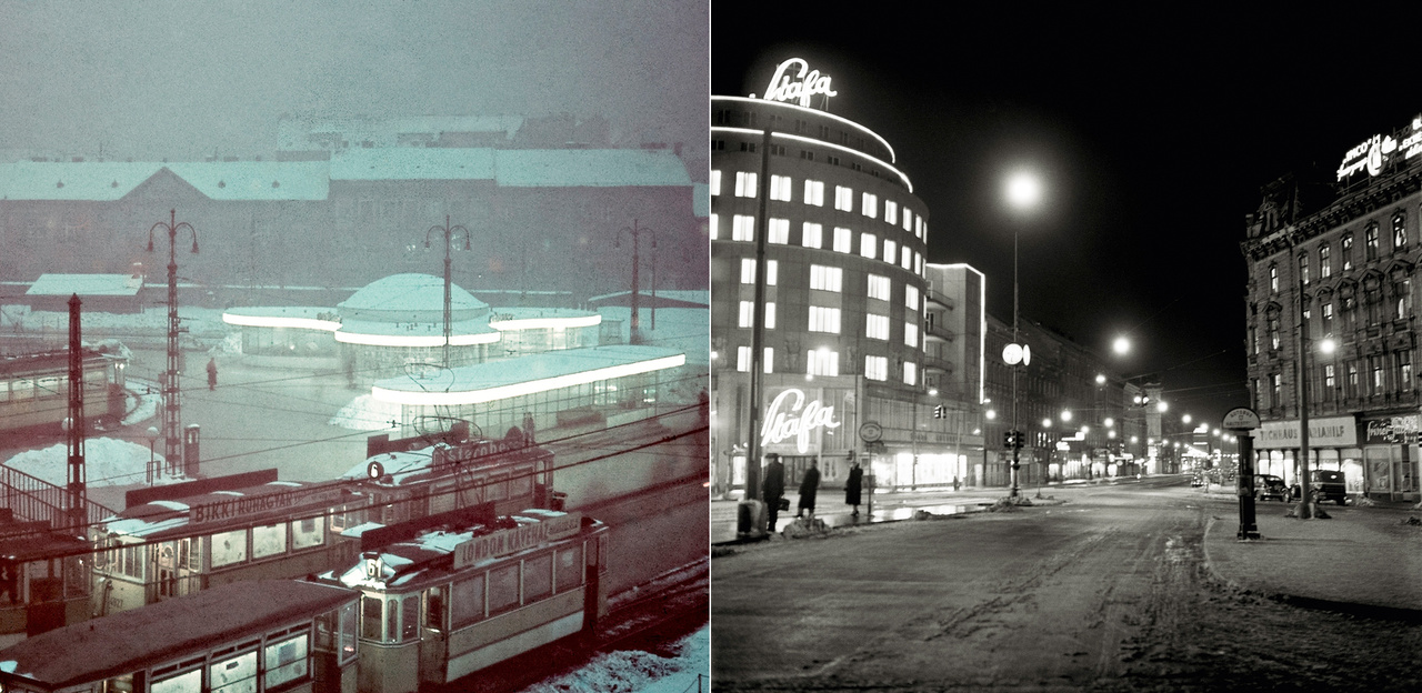 """A sebesség mellett a fény és az elektromosság is nagy hatással van a modern metropoliszok életére. Éjszakánként egy új városkép születik. A Széll Kálmán téri """"gombák"""" nappal szinte elvesztek a szélesen szétterülő téren, sötétedés után azonban eljött az ő idejük – egészen az akkor már Moszkva térnek hívott hely 1972-es teljes átépítéséig. A Westbahnhof pályaudvar melletti Stafa áruház a századforduló egyik úttörő vasbeton szerkezetű épülete volt, gazdag vakolatarchitektúrával. 1955-ben díszek nélküli homlokzattal épült újjá, a funkcionalista épület éjjel mégis pompásnak tűnt."""