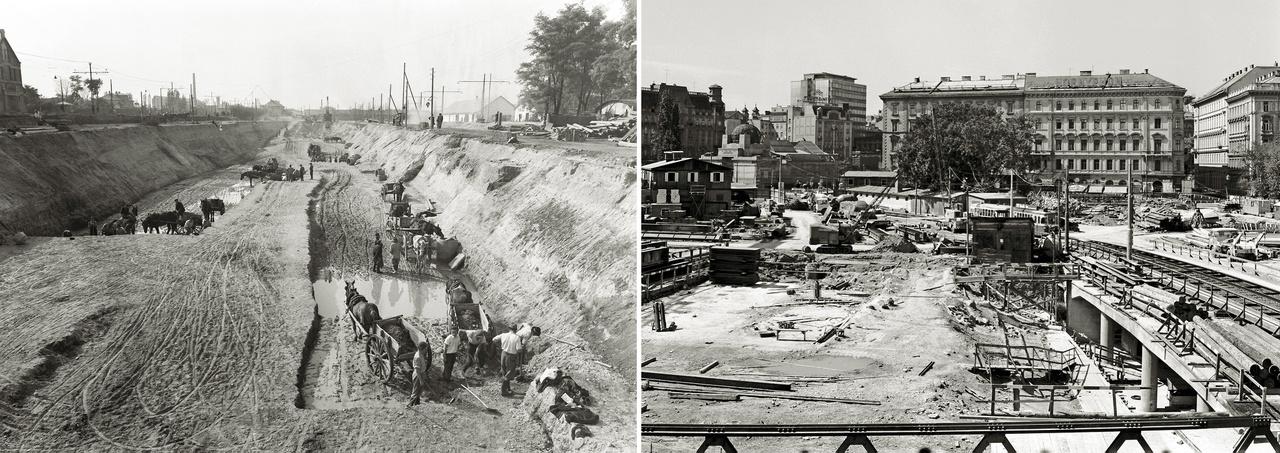 A sebesség a XX. század egyik fontos mítosza a metropoliszok életében is. A városon belüli utazási idők néhány percnyi csökkentése érdekében semmilyen árat nem tartottak magasnak: alagútakat fúrtak, felüljárókat építettek, városrészeket bontottak el, fasorokat vágtak ki. Az idő elleni harc végül nem az időt, hanem a teret győzte le: a város térben terült szét, újabb problémákat vetve fel.                         A budapesti képen a kettes metró és a gödöllői HÉV közös végállomása épül a mai Puskás Ferenc metróállomásnál 1950-ben. A Rákosi-korszakban a moszkvai mintájú metró építése politikai kötelesség volt, minden gazgasági megfontolást maga mögé utasított. A tervek szerint a gödöllői HÉV-vonal egy részét helyezték volna föld alá. Végül az építkezést leállították és hosszú szünet után, 1970-ben fejezték be. A bécsi Karlsplatz téren a föld alatti villamos kiépítése zajlik 1964-ben. Itt is a pénzhiány szülte meg az U-Strassenbahn-t, a föld alá helyezett villamost, amely a mai U2 (kettes metró) pályáján a nyolcvanas évek fordulójáig járt.