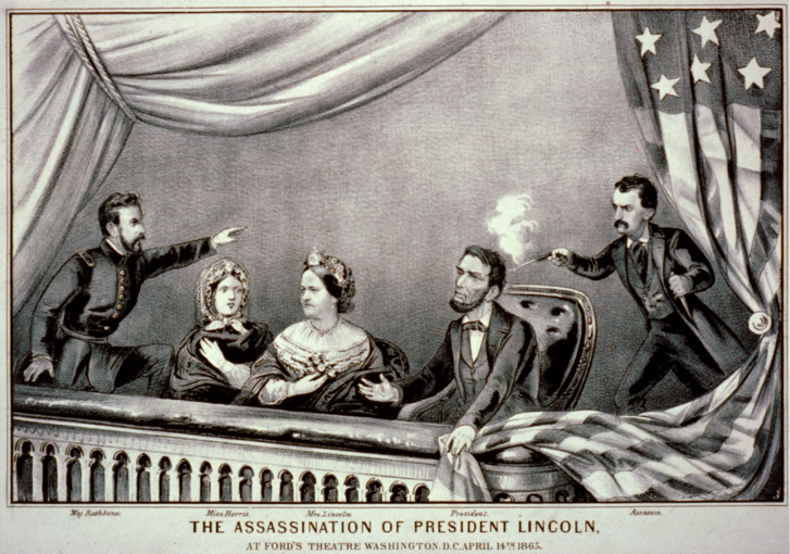 Henry Rathbone, Clara Harris, Mary Todd Lincoln, Abraham Lincoln és John Wilkes Booth