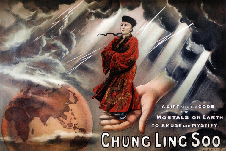 Ez nem egy fénykép Chung Ling Soo-ról, csak egy rajz.