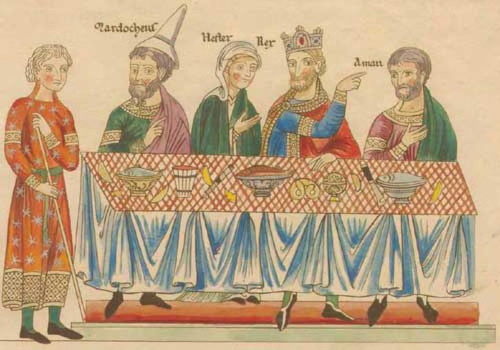 Az első ismert perec-ábrázolás a Hortus deliciarum (lat. 'a gyönyörűségek kertje') című XII. századi szöveggyűjteményből. Ha figyelmesen megnézi a képet, megtalálja a perecet valahol a lábak nélkül lebegő varázsasztalon!