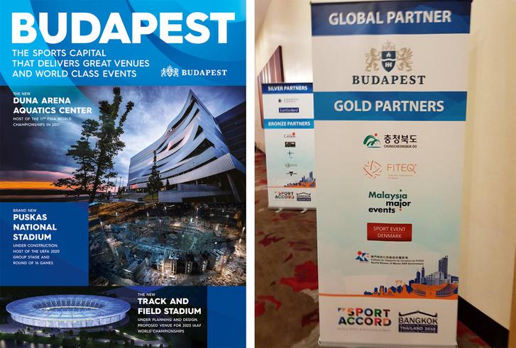 Budapest egész oldalas hirdetése a Sportaccord 2018 programfüzetében a főtámogatónak járó szolgáltatások része volt, ahogy a rendezvény helyszínén felállított roll-up bannereken való megjelenés is.