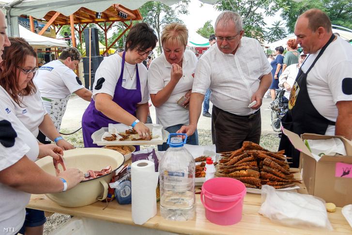 Fazekas Sándor földművelésügyi miniszter (j2) és Fótosné Czeglédi Zsuzsanna polgármester (j3) a 9. Kárásznapon Tiszaderzsen 2017. július 15-én. A miniszter az eseményen jelentette be a kormány húsz pontból álló élelmiszerbiztonsági akciótervét.