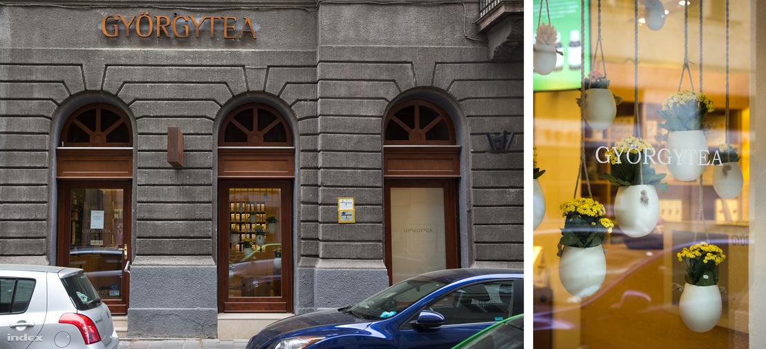 A Györgytea üzlete a Bank utcában Budapest belvárosában