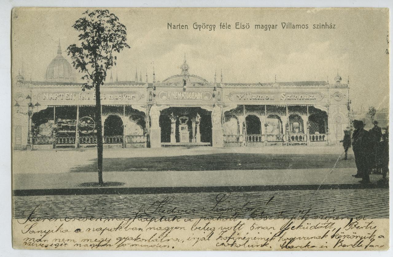 Egy hannoveri vállalkozó, Georg Narten minden igényt kielégítő sátormozija 1904-ben a Bomba, azaz a mai Batthyány téren. A díszes sátor Buda és a Víziváros előkelő közönségének igényei szerint fűthető volt és műsora is színvonalasabb volt a kültelki sátormoziknál. Akkoriban ugyanis a vándormozisok saját filmkészlet felett rendelkeztek, amelyeket legfeljebb egymás között csereberéltek. Ha levetítették már a teljes repertoárt, szó szerint szedték a sátorfájukat és odébb álltak egy várossal. Narten igazi profi volt, egyszerre több szekértáborral dolgozott, így nevét sikerült beírnia a filmtörténetbe, hiszen rengetegen az ő sátormozijában találkoztak először a mozgófilmmel.