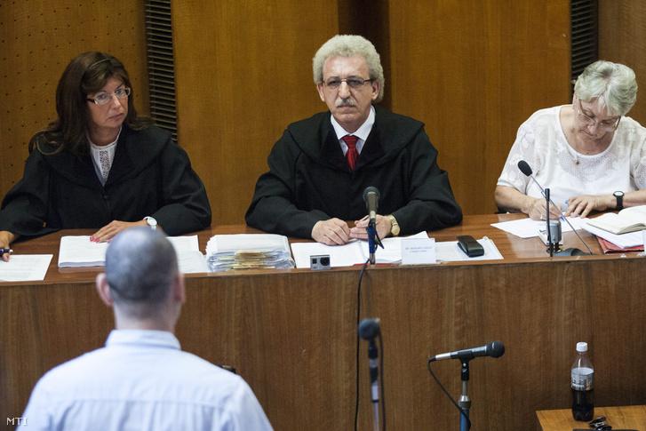 Miszori László bíró K. Árpád elsőrendű vádlottat hallgatja a romák elleni hat halálos áldozatot követelő 2008-ban és 2009-ben elkövetett fegyveres és Molotov-koktélos támadásokkal vádolt négy férfi büntetőperének tárgyalásán a Budapest Környéki Törvényszéken 2013. július 24-én