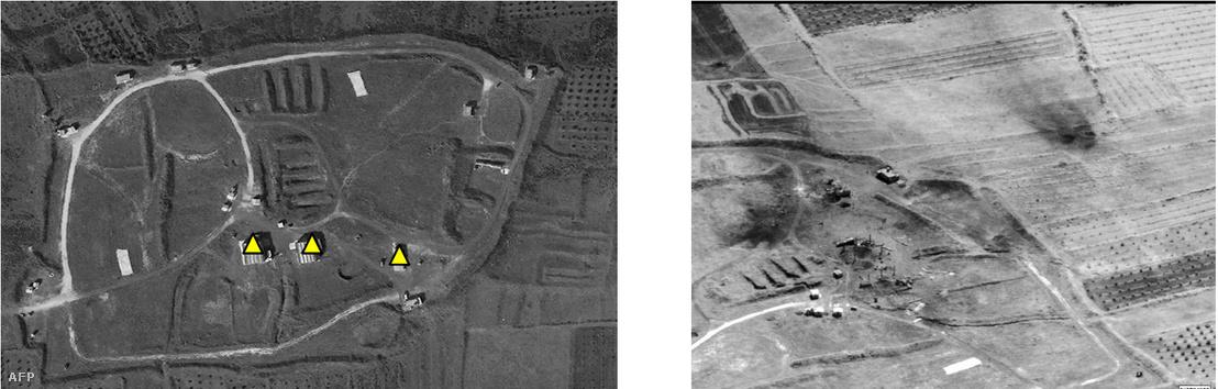 Az amerikai Védelmi Minisztérium által kiadott felvételeken egy szíriai fegyivegyver-raktár látható április 15-én, az amerikai-francia bombázás előtt és után.
