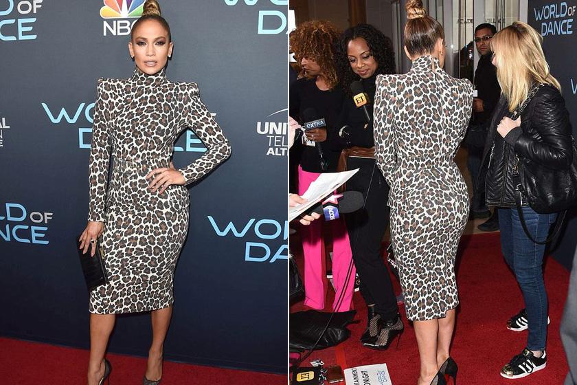 8ef3b96497 Jennifer Lopez testén csak úgy feszül a szűk ruha - Leopárdmintás ...