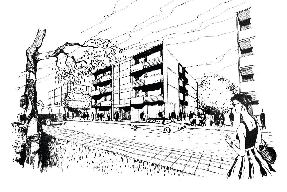 Az 514 jelű épület terve az Óbudai Kísérleti ltp- - tervező Benjámin Károly és Boross Zoltán