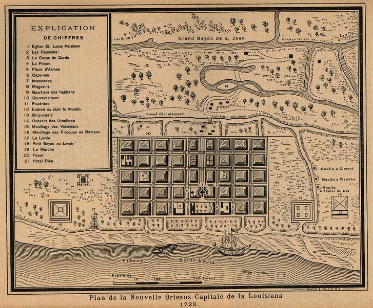 New Orleans térképe, 1728.