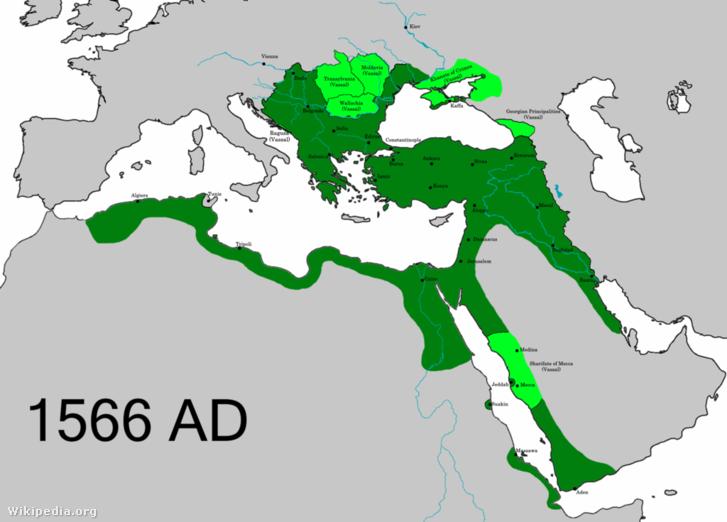 Az Oszmán Birodalom kiterjedése I. Szulejmán halálánbak évében, 1566-ban