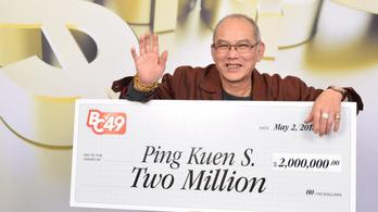 Nyugdíjba vonulása napján nyert 2 millió kanadai dollárt egy férfi a lottón