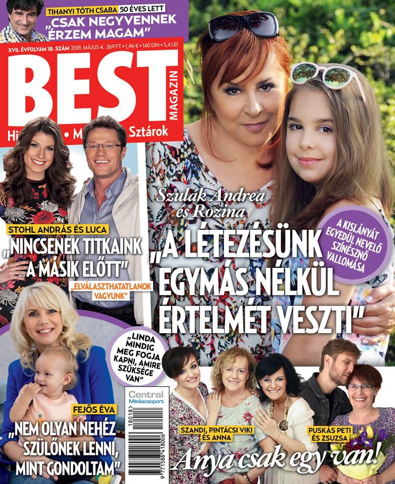 Szulák Andrea és 11 éves lánya, Rozina a Best magazin címlapjára kerültek legutóbb.