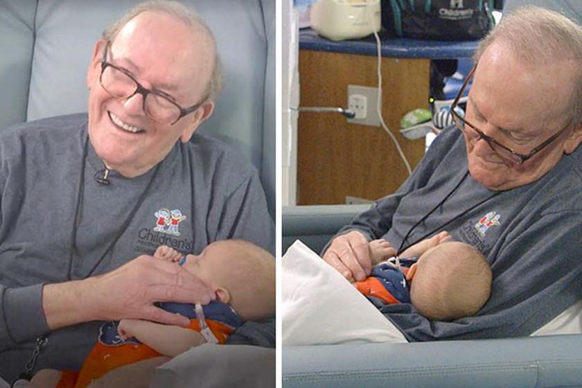 A nyugdíjas bácsi 12 éve önkénteskedik a helyi kórházban, ahol koraszülött babákat dajkál, hogy szegénykék minél több emberi érintésben részesülhessenek.
