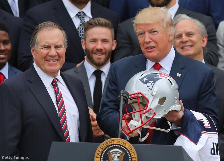 Bill Belichick és Donald Trump a Patriots fehér házi látogatásán