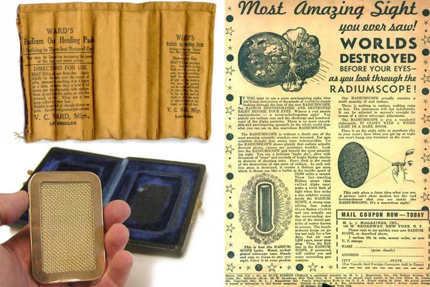 Balra fent radioaktív melegítő matrac; balra lent alsónadrágba teendő rádiumos potencianövelő; jobbra radioaktív játéklámpa-reklám.