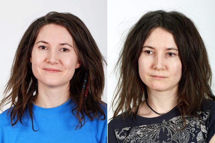A lány arca a kísérlet előtt és után.