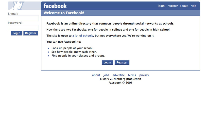 Ez pedig a Facebook egykori arculata.
