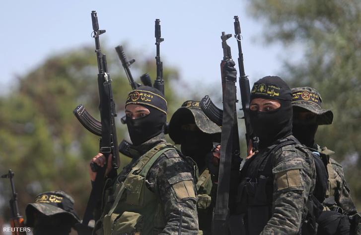 Az Iszlám Dzsihád harcosai Rafahban 2018. április 15-én