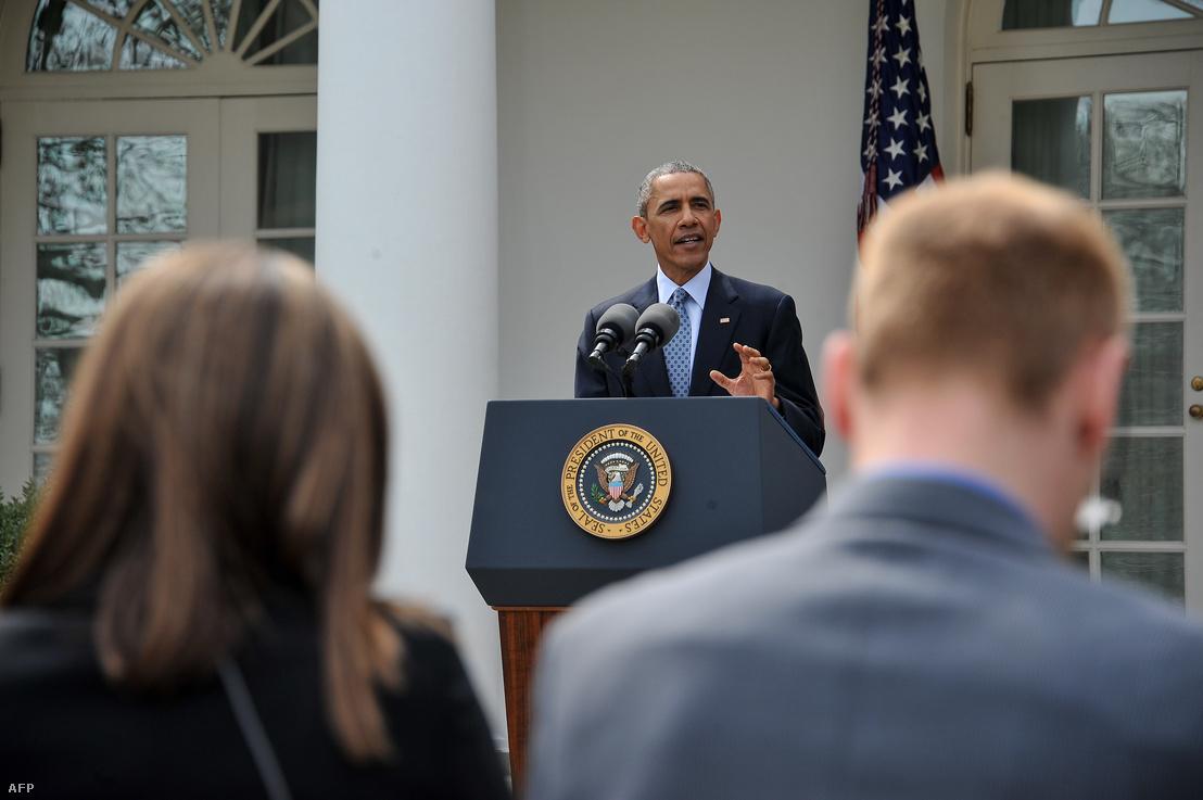 Barack Obama sajtótájékoztatót tart az egyezményről 2015-ben