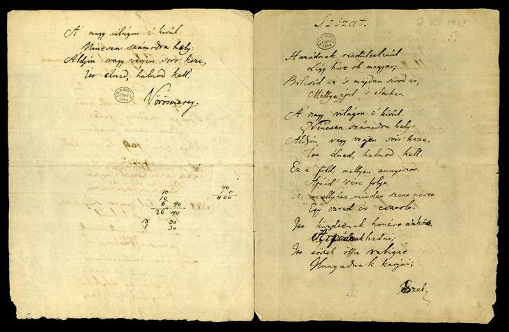 Vörösmarty Szózatának kézirata