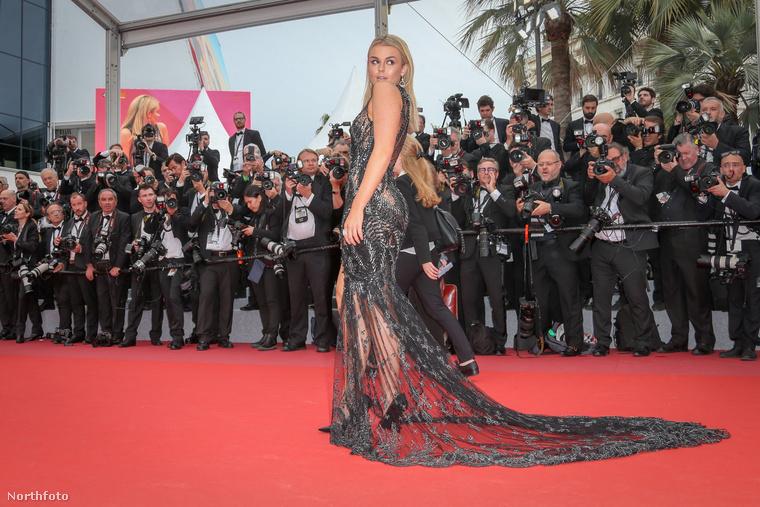 Ő egyébként egy brit énekesnő és már tavaly is elég látványos ruhában vonult fel Cannes-ban.