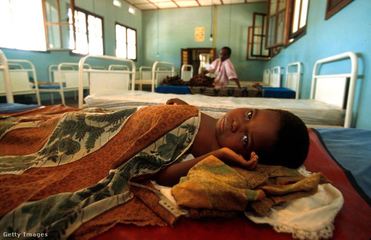 1996. április 12. Beteg kisgyerek fekszik a kikwiti kórházban. Kikwit volt az 1995-ös kongói ebolajárvány egyik epicentruma, a térségben ekkor több százan estek áldozatul a vérzéses kórnak.