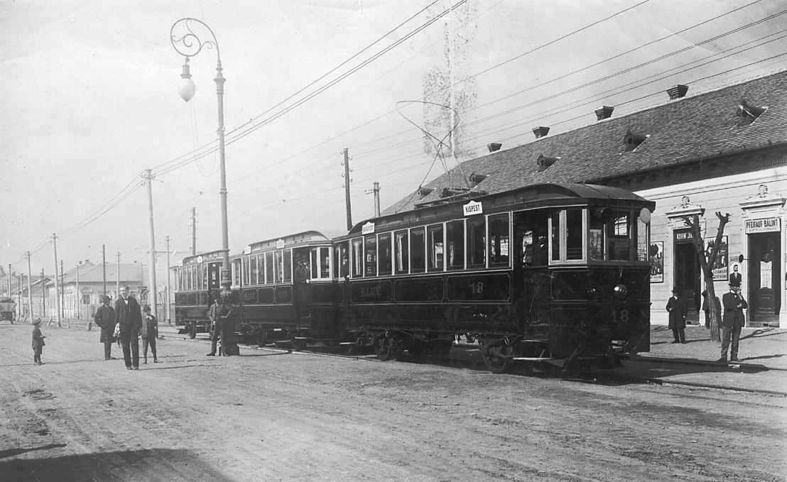 Árpád utcai villamosmegálló az 1910-es években