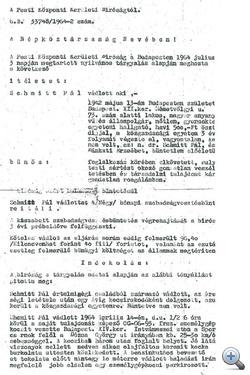 Az 1964-es Schmitt-ítélet. A dokumentum jobb széle a KEH által közzétett verzióból is hiányzik.